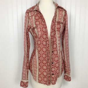 BKE 70's western cotton button up down shirt red S